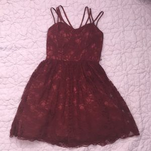 Burgundy lace strappy homecoming / occasion dress
